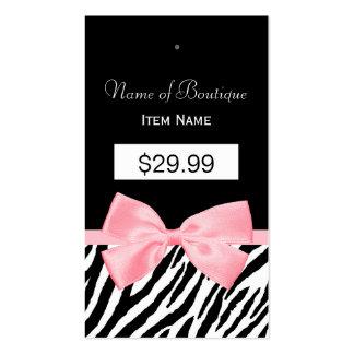 Chic Zebra Print Hang Tag Light True Pink Ribbon 2 Business Card