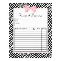 Chic Zebra Print Light True Pink Ribbon Order Form Flyer