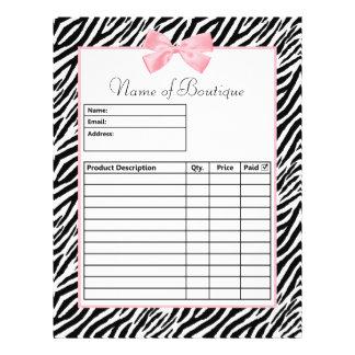 "Chic Zebra Print Light True Pink Ribbon Order Form 8.5"" X 11"" Flyer"