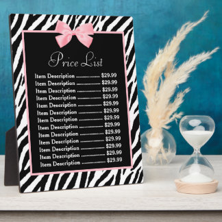Chic Zebra Print Light True Pink Ribbon Price List Display Plaques