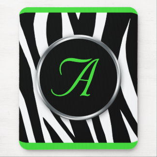 Chic Zebra Print Lime Green Monogram mousepad
