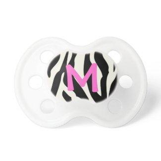 Chic Zebra Print & Monogram Baby Pacifier