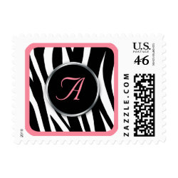Chic Zebra Print Pink Monogram postage stamps