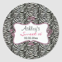 Chic  Zebra Print Pink Personalized stickers