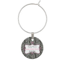 Chic Zebra Print Pink Personalized wine charms