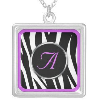 Chic Zebra Print Purple Monogram necklace