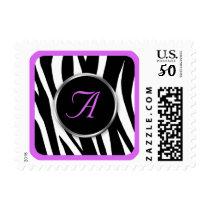 Chic Zebra Print Purple Monogram postage stamps