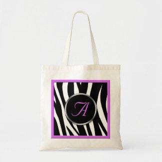 Chic Zebra Print Purple Monogram Tote Bag