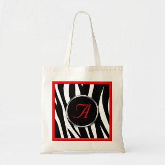 Chic Zebra Print Red Monogram Tote Bag