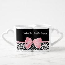 Chic Zebra Print Soft Girly Light Pink Ribbon Coffee Mug Set