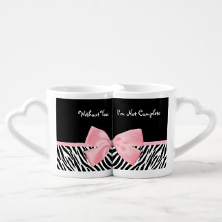 Chic Zebra Print Soft Girly Light Pink Ribbon Coffee Mug Set