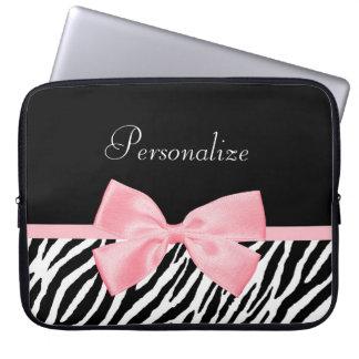 Chic Zebra Print Soft Girly Light Pink Ribbon Computer Sleeves