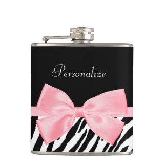 Chic Zebra Print Soft Girly Light Pink Ribbon Hip Flask