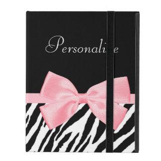 Chic Zebra Print Soft Girly Light Pink Ribbon iPad Covers