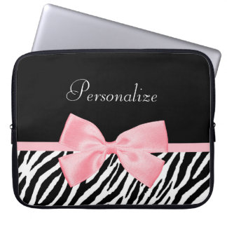 Chic Zebra Print Soft Girly Light Pink Ribbon Laptop Computer Sleeves