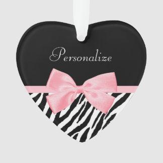 Chic Zebra Print Soft Girly Light Pink Ribbon Ornament