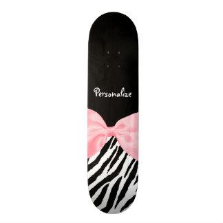Chic Zebra Print Soft Girly Light Pink Ribbon Skateboard Deck