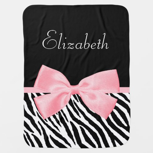 Chic Zebra Print Soft Girly Light Pink Ribbon Baby Blanket