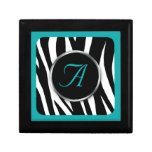 Chic Zebra Print Teal Monogram Gift Box