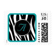 Chic Zebra Print Teal Monogram postage stamps