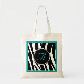 Chic Zebra Print Teal Monogram Tote Bag