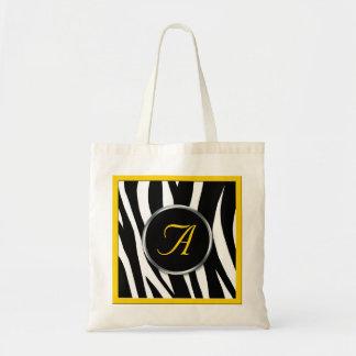 Chic Zebra Print Yellow Monogram Tote Bag
