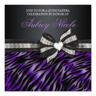 Chic Zebra Quinceañera Invite With Jeweled Bow