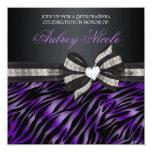 """Chic Zebra Quinceañera Invite With Jeweled Bow 5.25"""" Square Invitation Card"""