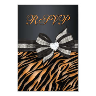 Chic Zebra RSVP With Jeweled Bow Card