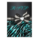 Chic Zebra RSVP With Jeweled Bow 3.5x5 Paper Invitation Card