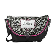 chic zebra stripes hot pink personalized messenger bag