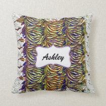 chic zebra stripes personalized throw pillow