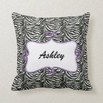 chic zebra stripes personalized throw pillow