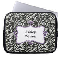 chic zebra stripes purple personalized laptop sleeve