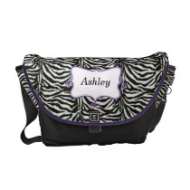 chic zebra stripes purple personalized messenger bag