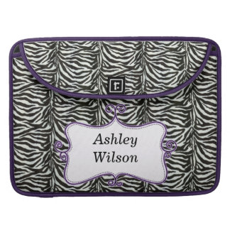chic zebra stripes purple personalized sleeve for MacBooks