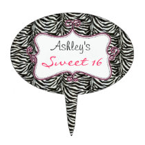 chic zebra stripes sweet 16 cake picks