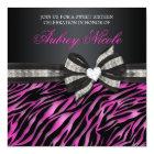 Chic Zebra Sweet Sixteen Invite With Jeweled Bow