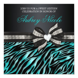 Chic Zebra Sweet Sixteen Invite With Jeweled Bow