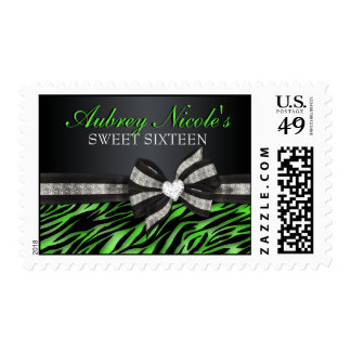 Chic Zebra Sweet Sixteen Stamps With Jeweled Bow