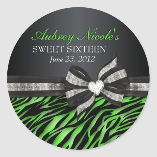 Chic Zebra Sweet Sixteen Sticker