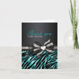 Chic Zebra Sweet Sixteen Thank You Card