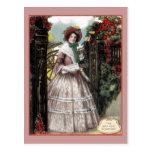 Chica 1847 en postal del vintage de la entrada