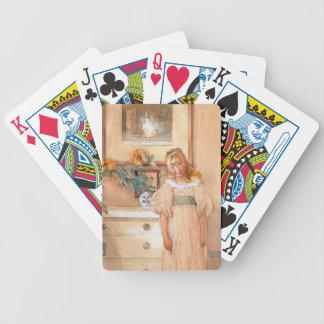 Chica 1893 del girasol cartas de juego
