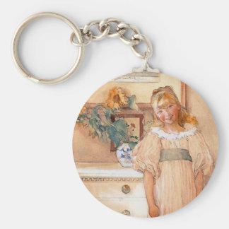 Chica 1893 del girasol llavero redondo tipo pin