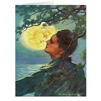 Chica 1908 de la luna tarjeton
