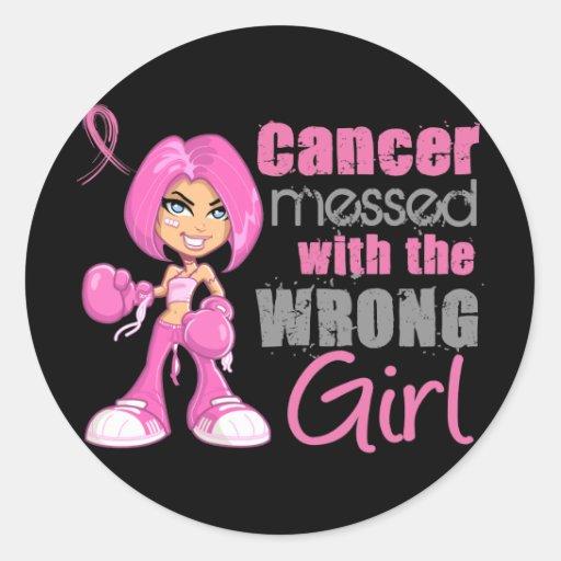 Chica 1 del combate del cáncer de pecho pegatinas redondas