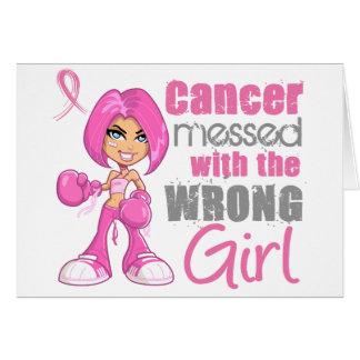 Chica 1 del combate del cáncer de pecho tarjeta de felicitación