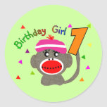 """Chica """"1"""" del cumpleaños años etiqueta redonda"""