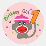 """Chica """"1"""" del cumpleaños años etiquetas redondas"""